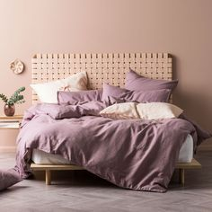 Elderberry Nimes Linen Quilt Cover Set by Linen House. Get it now or find more Quilt Covers at Temple & Webster. Quilt Cover Sets, Quilt Sets, Room Decor Bedroom, Kids Bedroom, Rose Pastel, Lilac, Purple Bedding, Bedding Inspiration, Linens And More