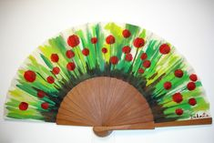 Amapolas Hand Fan, Handmade, Trieste, Hand Fans, Sombreros, Painted Fan, Seashell Crafts, Painted Wood, Art Projects