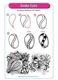 Snake Eggs Tangle, Zentangle Pattern by Nancy Robinson Tangle Doodle, Tangle Art, Zen Doodle, Doodle Art, Zentangle Drawings, Doodles Zentangles, Doodle Drawings, Doodle Patterns, Zentangle Patterns