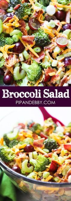 Broccoli Salad | This salad is so easy to make and also such a crowd pleaser! Packed with great ingredients and lots of flavor. #broccolisalad #pipandebby #sidedish #salads