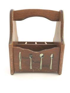 Vintage Silverware Caddy Napkin Holder Flatware Carrier Wooden