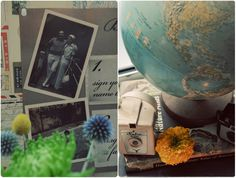 travel wedding centerpiece idea- vintage globe sitting on top of vintage travel books surrounded by flowers