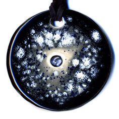 Pale Blue Dot Ceramic Necklace In Black and Gray by surly on Etsy, $20.00
