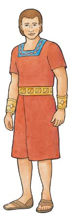Alma, a character from the Book of Mormon, dressed in a red tunic and sandals.