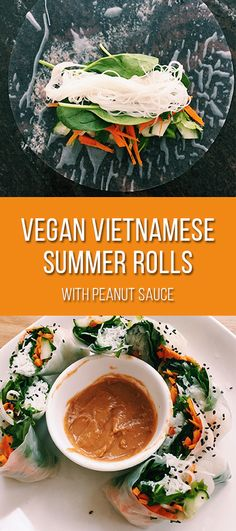 I love making these Vietnamese summer rolls when I want something that's not only easy and delicious, but also healthy and packed with veggies. These make a great snack or a light lunch whether you're heading to school or the office. Hoisin Sauce, Vietnamese Summer Rolls, Peanut Sauce, Vegan Recipes Easy, Veggies, Lunch, Snacks, Fresh, Meals