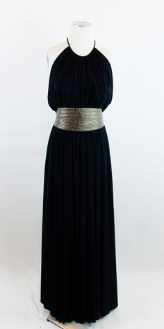 Vintage 1970s ADELE SIMPSON BLACK Grecian  Halter Maxi Gown Full Sweep With Large Mated Gold Obi Belt Small