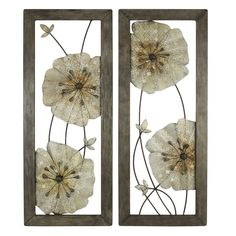 Aspire Marla Flower Wall Decor (Set of 2), Gray ** To view further for this item, visit the image link. (This is an affiliate link and I receive a commission for the sales)