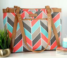 Pre-Order Chevron Laptop Bag in Coral and Turquoise by kailochic