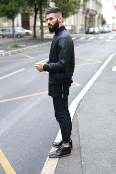 #mens #guys #street #fashion #menswear #style #streetstyle #black #layers #leather #pleather #boots #beard