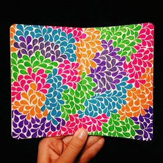 Colored Teardrops, finished. Done with colored pens on a 3.5 x 5.5 inch moleskine sketchbook.