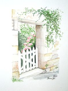 La porte du jardin - Swaze, peintre pastelliste Aquarelle