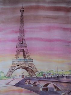 Aquarela de Torre Eifel. Paris  Obra de Anildo Mota