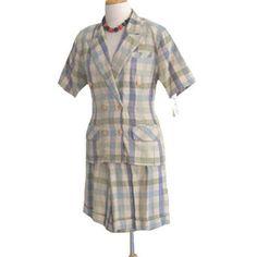 NWT 1980s Vintage Jacket & Shorts Outfit Suit Check Print  #JenniferEden