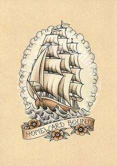 T08. Tattoo illustrations. Sailboat Ship Sea frigate por Retrocrix