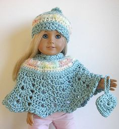 American Girl Doll Clothes Crocheted Poncho Set in Seafoam Teal for 18 Inch American Girl Doll