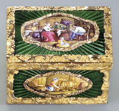 A LOUIS XV-STYLE ENAMELLED GOLD SNUFF-BOX WITH ENAMEL PLAQUE