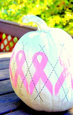 Argyle Breast Cancer Awareness pumpkin by Linden & Lace #pumpkin #breast cancer #pink
