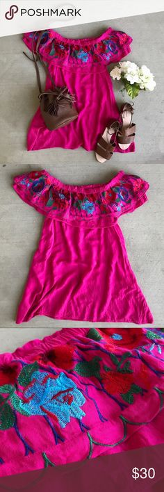 Hot Tropics Embroidered Off the Shoulder Dress Magenta off the shoulder silhouette with vibrant embroidery overlay. Elastic neckline. Not lined. 55% cotton/45% polyester.  ❥XO, Kay Umgee Dresses Mini