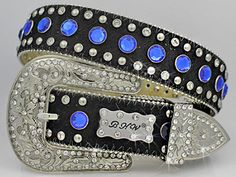 Genuine leather belt with real black cowhide, blue rhinestones, and a silver bling buckle.