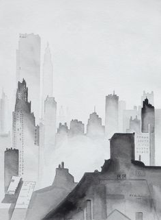 Fifty Shades of Gris - Modern, Contemporary,Buildings, City Scape in Black and White, UNFRAMED 12 X 16 inches Black And White Building, Black And White City, Black And White Drawing, Black And White Artwork, Illustration Art Nouveau, City Illustration, Watercolor Landscape, Watercolor Paintings, Watercolours