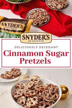 Cinnamon Sugar Pretzels are a crowd pleaser when it comes to Holiday treats. This adult and kid-friendly recipe makes for the perfect holiday gift or snack! The Best Holiday Pins 2019 Christmas Snacks, Holiday Treats, Holiday Recipes, Christmas Cookies, Holiday Candy, Holiday Foods, Christmas Candy, Christmas Ideas, Christmas Gifts