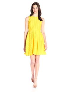 Calvin Klein Women's Novelty Cotton Dress, Canary, 14 Cal-$138.00