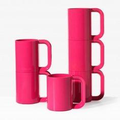 Heller Fuchsia Mugs Set of 6 - Kitchen + Dining - New
