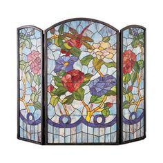 Meyda Tiffany Dragonfly Flower 3 Panel Fireplace Screen