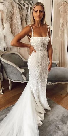 10 Wedding Dress Designers You Want To Know About ❤️  wedding dress designers sheath with spaghetti straps floral with train pallascouture #weddingforward #wedding #bride