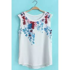Floral Print Chiffon Stylish Scoop Neck Sleeveless Women's T-Shirt, AS THE PICTURE, L in Tees & T-Shirts | DressLily.com