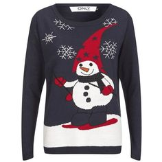 ONLY Women's Jingle Bells Christmas Jumper - Night Sky ($24) ❤ liked on Polyvore featuring tops, sweaters, christmas sweaters, multi, jumper top, christmas tops, christmas sweater, christmas jumper and jumpers sweaters