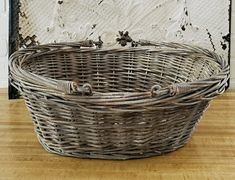 Mid Summer Junkin' Finds Round Up which is a feature for Waste Not Wednesday-218 by Follow The Yellow Brick Home   www.raggedy-bits.com Farmhouse Clocks, French Farmhouse, Vintage Farmhouse, French Baskets, Old Baskets, Painted Baskets, Gray Chalk Paint, Faux Flower Arrangements, Grain Sack