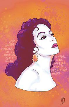 Maria Felix Art Print by Alda Garza - X-Small Sewing Machine Repair, Latino Art, Make Up Art, Foundation Paper Piecing, Dope Art, Powerful Women, Female Art, Divas, Illustration Art