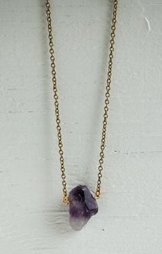 Items similar to Raw Amethyst Necklace Amethyst Gemstone Gold Necklace Crystal February Birthstone Semiprecious Purple Rock on Etsy Crystal Jewelry, Pendant Jewelry, Rock Rings, Amethyst Necklace, Amethyst Stone, Handmade Jewelry, Unique Jewelry, Cute Earrings, Stone Pendants