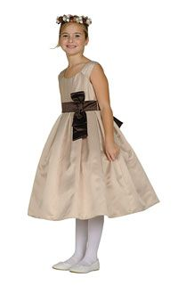 Flower Girl Dresses - Girls Dress 1087- CHAMPAGNE Satin Dress With Choice of Satin Sash