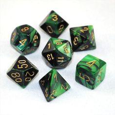 Set of 7 Chessex Gemini Black-Green w/gold RPG Dice