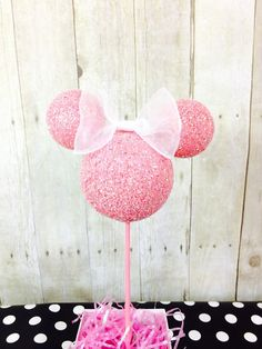 HEAD ONLY with bow. Custom Pink Minnie Mouse centerpiece decor for birthday by ArisPaperClouds