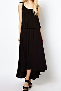 ROMWE | ROMWE Asymmetric Pleated Black Suspender Dress, The Latest Street Fashion