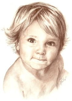 Custom Conté pencil portrait drawing of young boy by ArtbyMichal, $325.00
