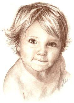 Custom Conté pencil portrait drawing of young boy by ArtbyMichal, $325.00