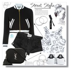 """""""Black & White Street Style"""" by queenvirgo ❤ liked on Polyvore featuring Moschino, adidas, Abercrombie & Fitch, Yves Saint Laurent, Civil and Bobbi Brown Cosmetics"""