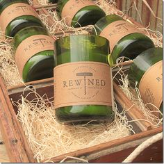 fun idea for party favor - reclaimed wine bottle candles.