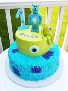 Monster Inc. themed cake - cakes are buttercream iced.  I made the monsters out of modeling chocolate