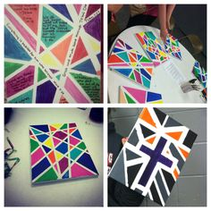 DIY Painting-Super Easy! You can do any pattern by just adding different sized painters/masking/scrap booking tape and taping it onto the canvas, then paint the open spaces with acrylic paint. Let dry and pull of the tape! Voila! Cool Easy Art!