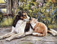Fine art with cats & dogs. Paintings with friendly cats and dogs. Cross Paintings, Dog Paintings, Friendship Wallpaper, Animals And Pets, Cute Animals, Cat Dog, Hand Painted Canvas, Paint By Number, Dog Art