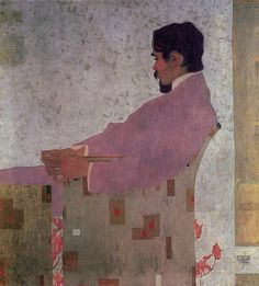 Portrait of the Painter Anton Peschka Artist: Egon Schiele Completion Date: 1909 Place of Creation: Vienna, Austria Style: Art Nouveau (Modern) Genre: portrait Technique: oil Material: canvas Dimensions: 110.2 x 100 cm
