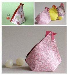 origami hens with video instructions