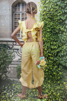AIRFISH Yellow Cotton Bow Back Jumpsuit with Frills