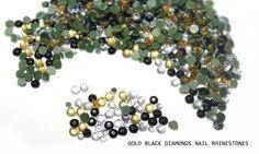500 PCS Gold Black Diamond Rhinestones Nail Art Studs by KBazaar, $8.90