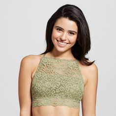 Women's Lace High Neck Bralette Tanglewood Olive Green M - Xhilaration, Tanglewood Green